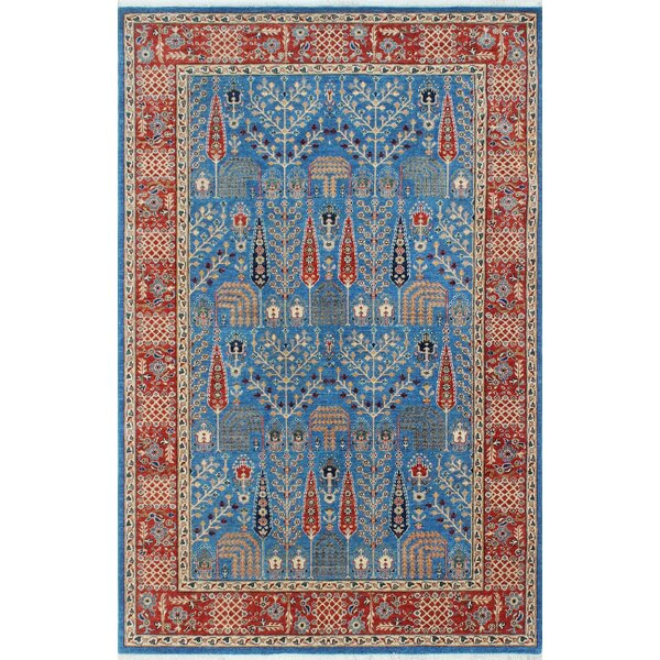One-of-a-Kind Altom Hand-Knotted Wool Blue Area Rug by Isabelline