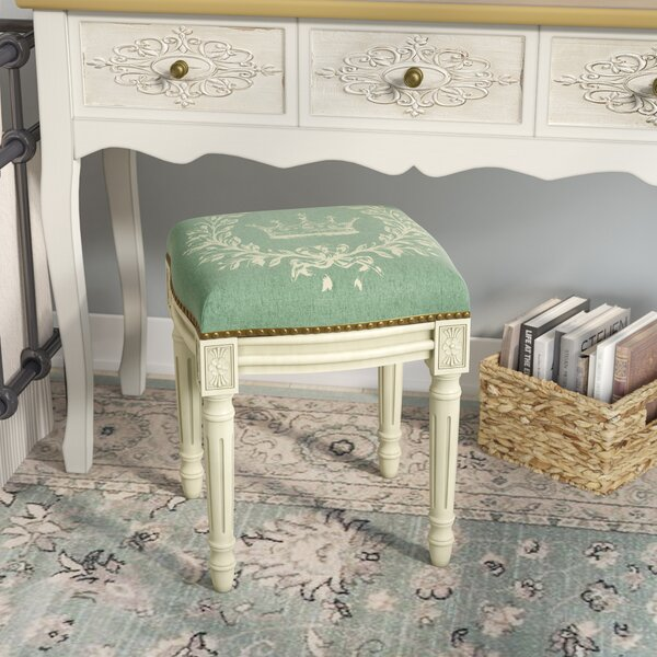 Clematite Coral Crown Linen Upholstered Vanity Stool by Lark Manor