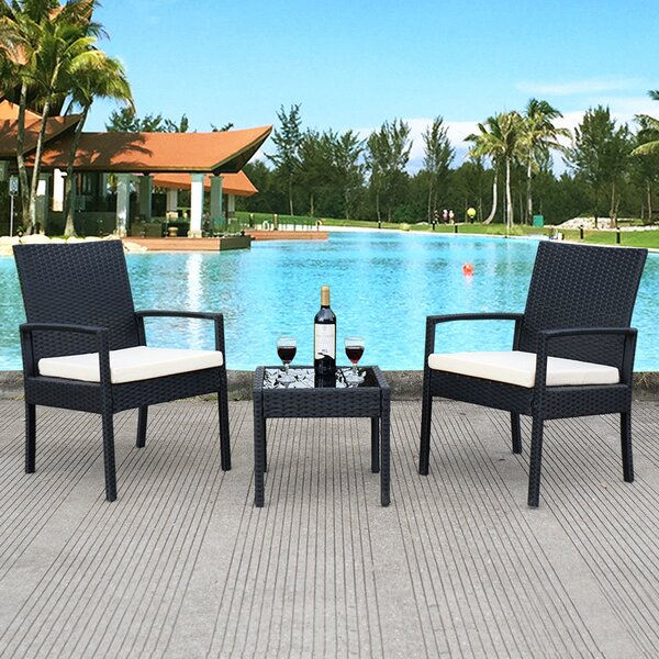 Geordie Outdoor 3 Piece Rattan Seating Group with Cushions by Latitude Run
