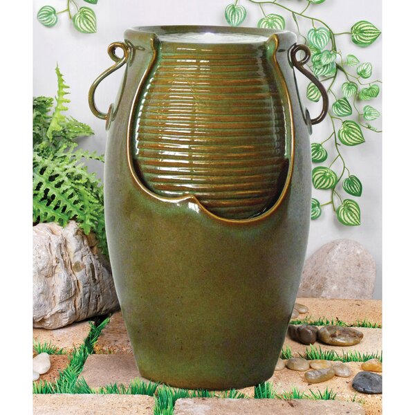 Ceramic Rippling Jar Garden Ceramic Urn Fountain with LED Light by Wildon Home ®