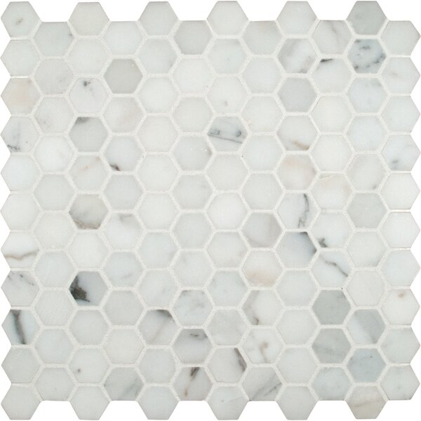 Calacatta Gold Hexagon Mounted 1 x 1 Marble Mosaic in White by MSI