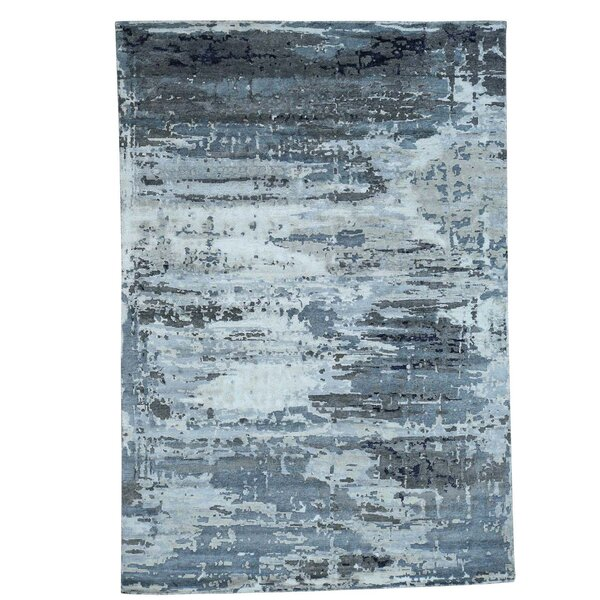 Abstract Hi and Low Hand-Knotted Gray Area Rug by 17 Stories