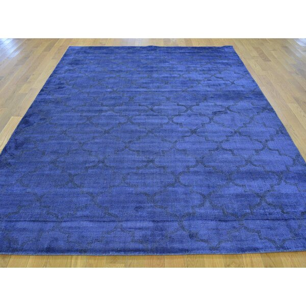 One-of-a-Kind Bearden Overdyed Handwoven Blue Wool/Silk Area Rug by Isabelline