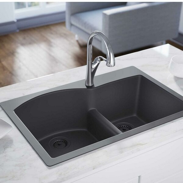 Luxe 33 L x 22 W Double Basin Drop-In Kitchen Sink with Aqua Divide by Elkay