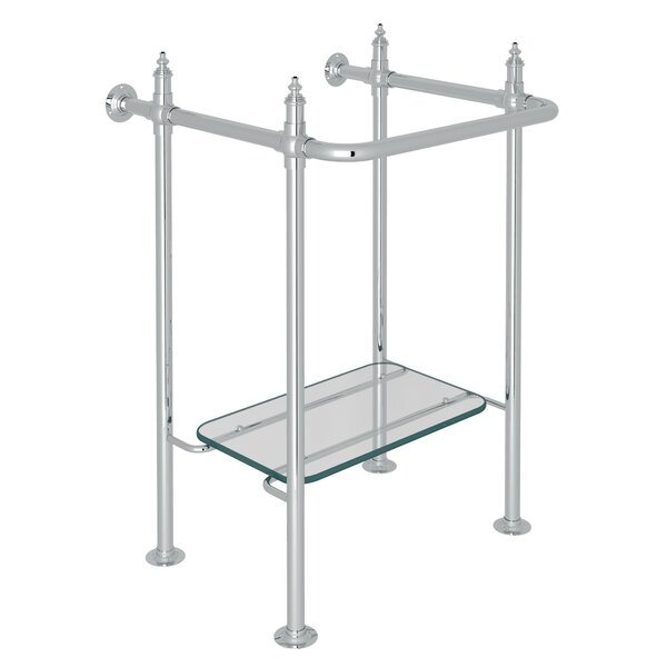 ROHL® Finished Brass Wash Stand With Glass Shelf in Polished Chrome