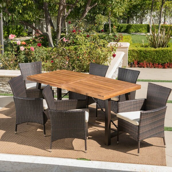 Tiggs Outdoor 7 Piece Dining Set with Cushions by Wrought Studio