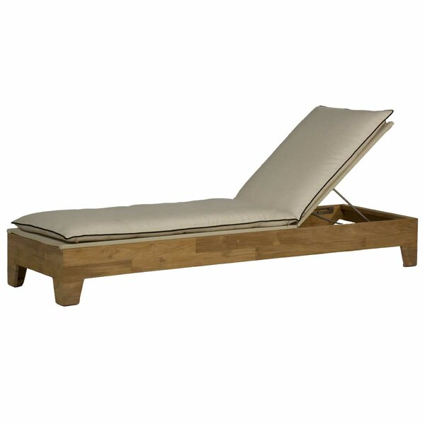Ryan Outdoor Teak Chaise Lounge with Cushion by Summer Classics Summer Classics