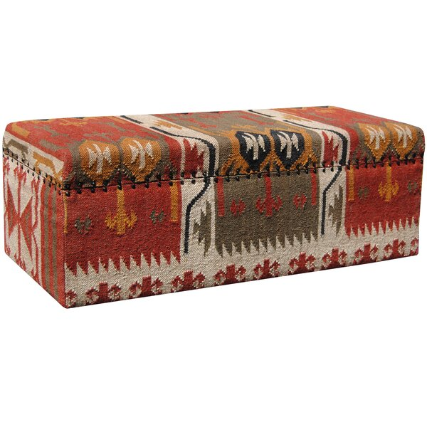 Handmade Kilim Upholstered Storage Ottoman by Loon Peak