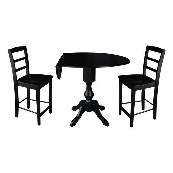 Aquin Round Top Drop Leaf Pedestal 3 Piece Adjustable Pub Table Set by Alcott Hill Alcott Hill