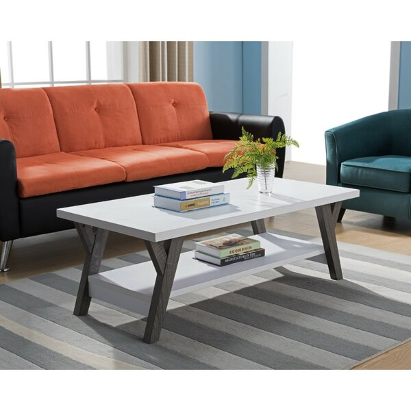 Heather Two-Tone Wooden Coffee Table with Storage by Wrought Studio