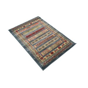 Foret Noire Machine Woven Blue/Red Area Rug
