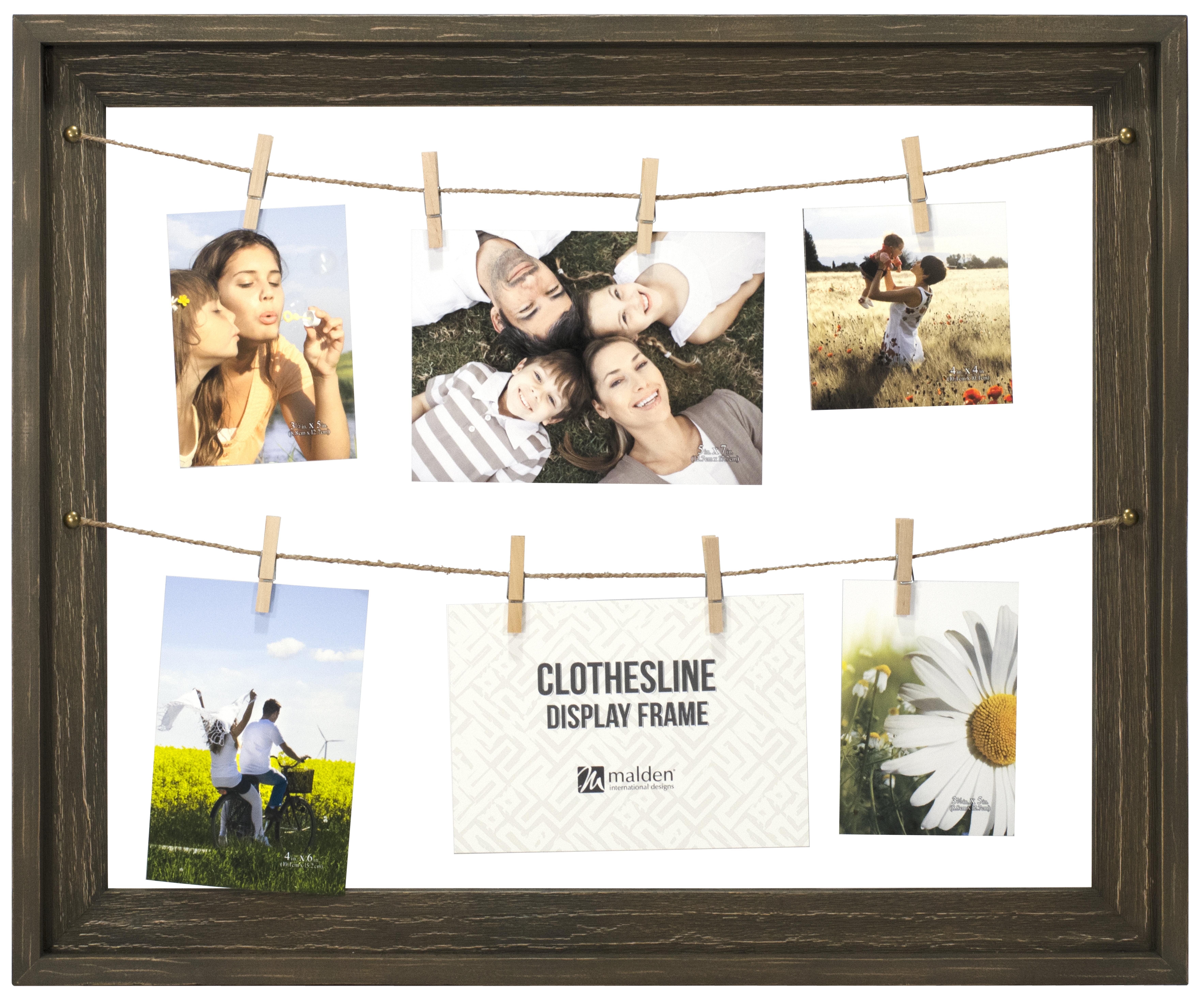 Loon Peak Shutesbury Rustic Clothesline Display Picture Frame   Wayfair