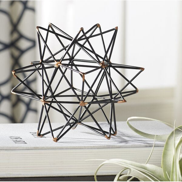 Wire Star Black/Gold Iron Sculpture by Mercury RowWire Star Black/Gold Iron Sculpture by Mercury Row