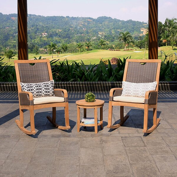 Mansfield 3 Piece Teak Seating Group with Cushion by Bayou Breeze