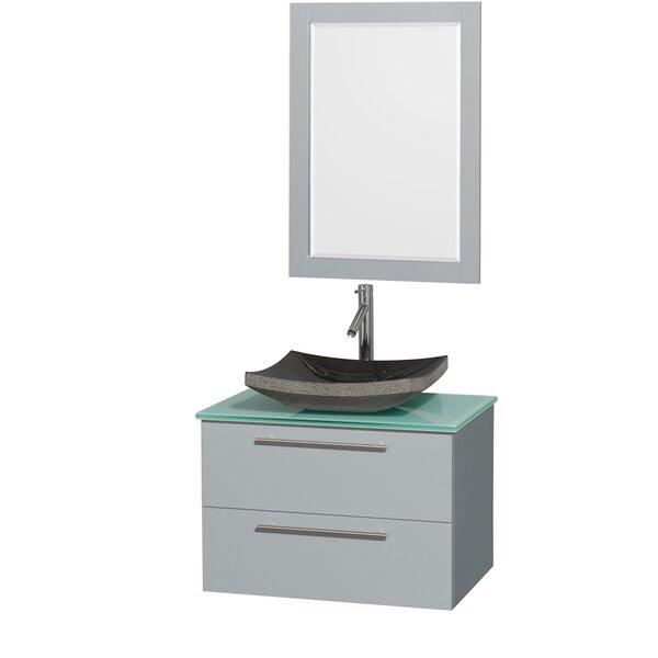 Amare 30 Single Dove Gray Bathroom Vanity Set with Mirror by Wyndham Collection