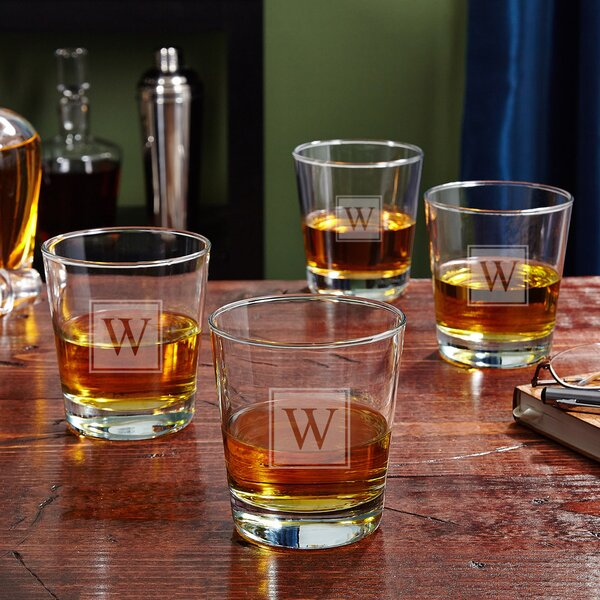 On the Rocks Personalized 12 oz. Whiskey Glass (Set of 4) by Home Wet Bar