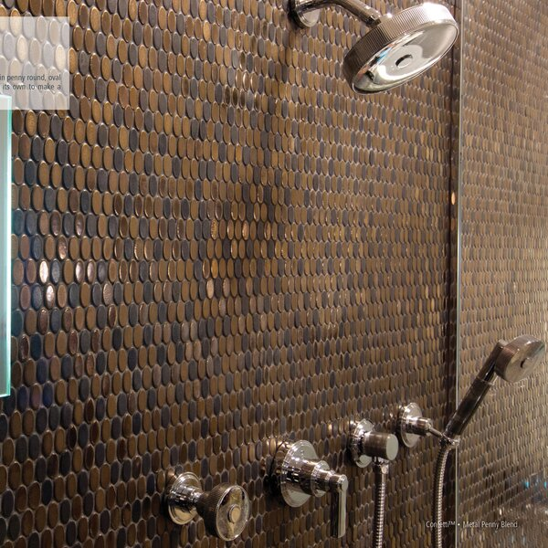 Confetti 12 x 12 Porcelain Oval Mosaic Tile in Bronze by Emser Tile