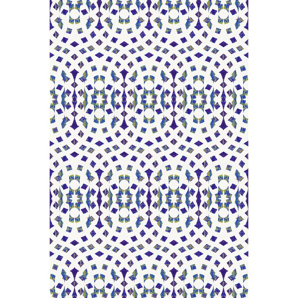 Stained Glass Power Loom Navy/White Rug