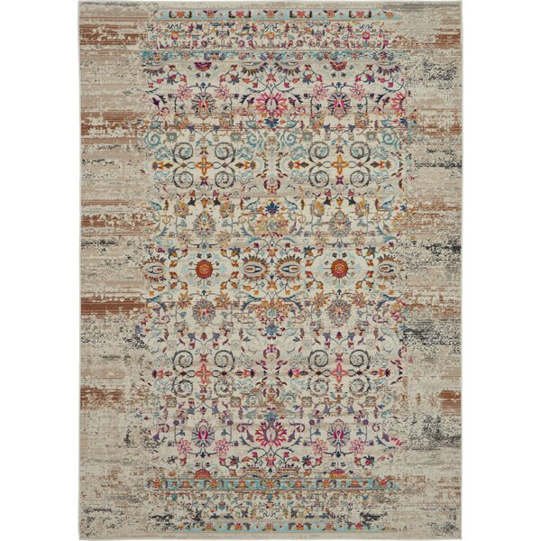 Lowndes Bohemian Ivory/Orange Area Rug by Bungalow Rose