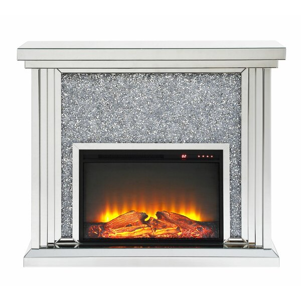 Albro Wood And Mirror Electric Fireplace By Everly Quinn