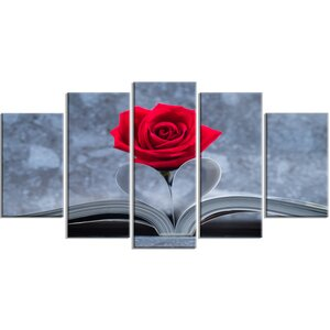 'Red Rose Inside the Book' 5 Piece Wall Art on Wrapped Canvas Set by Design Art