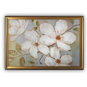 'White Blossoms' Framed Painting Print by Red Barrel Studio