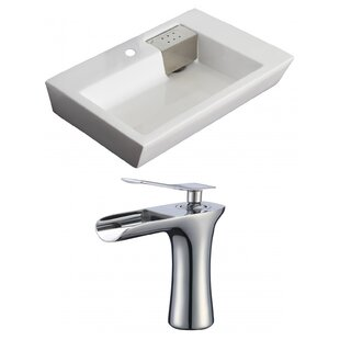 Price Check Ceramic Rectangular Vessel Bathroom Sink with Faucet and Overflow By American Imaginations