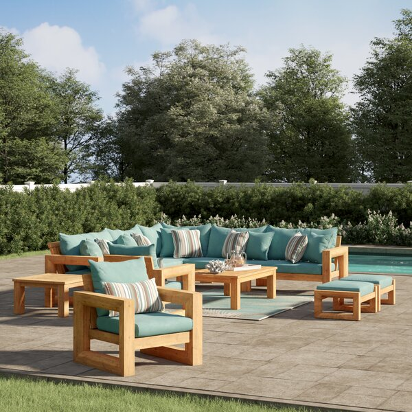 Mcclain 11 Piece Sunbrella Sectional Seating Group with Sunbrella Cushions by Rosecliff Heights