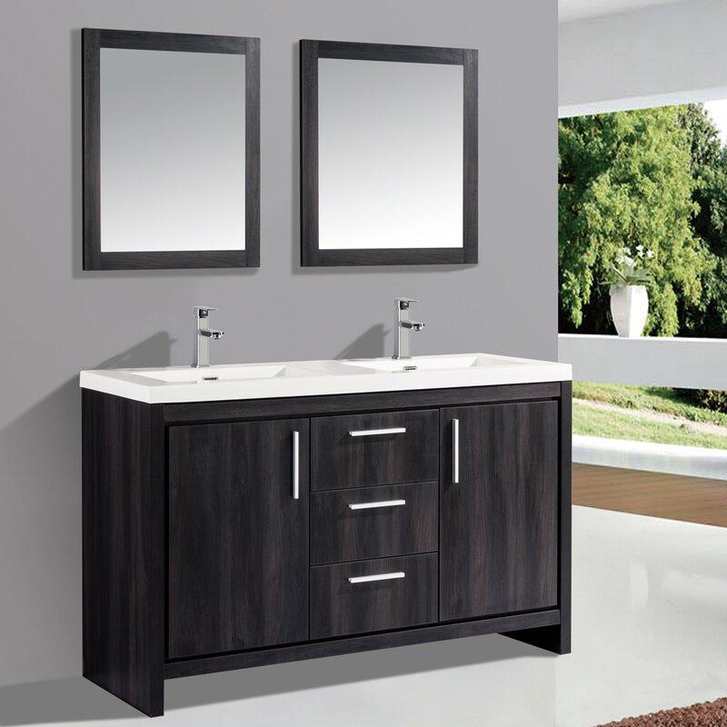 "Peiffer 59"" Double Sink Bathroom Vanity Set with Mirror"
