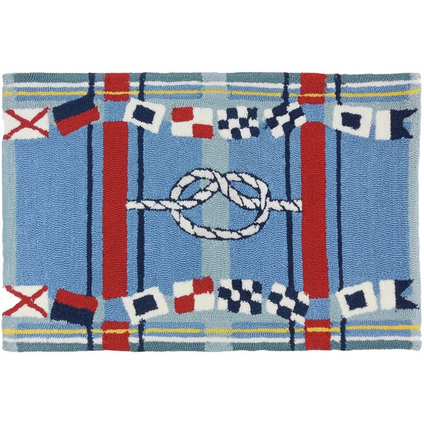 Brownsville Nautical Plaid Blue Indoor/Outdoor Area Rug by Breakwater Bay