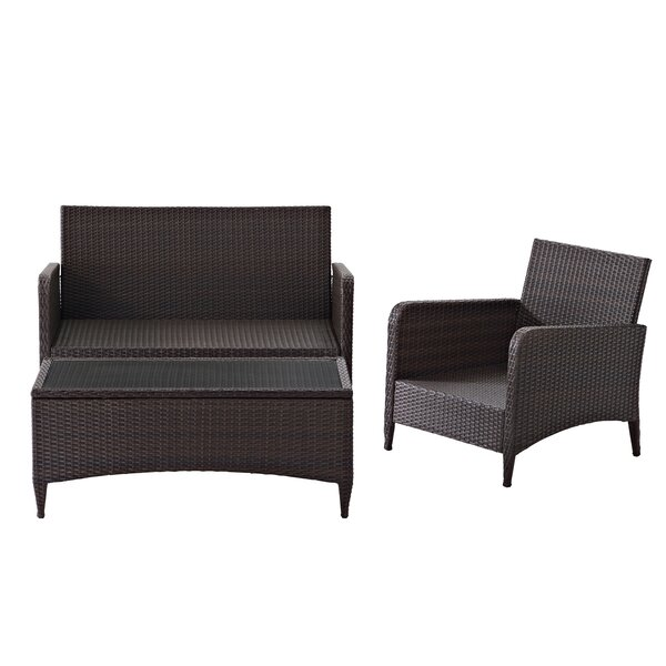 Mosca 3 Piece Rattan Sofa Seating Group with Cushions by World Menagerie World Menagerie