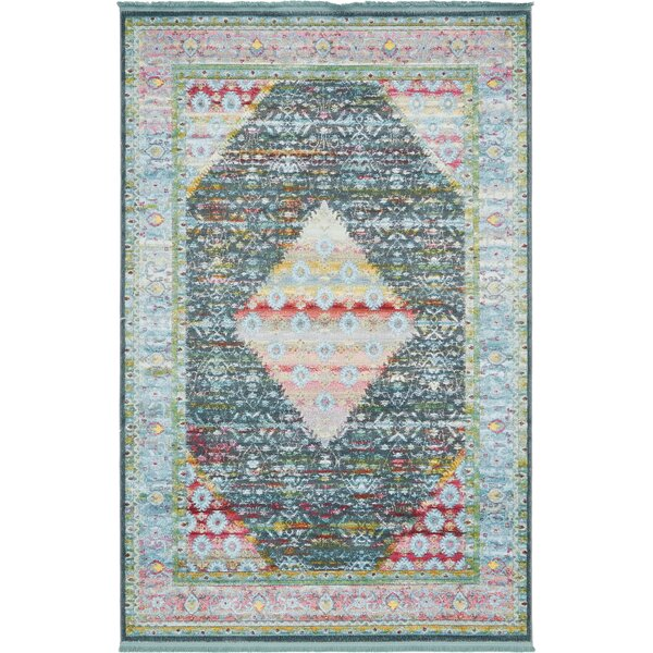 Lonerock Blue Area Rug by Bungalow Rose