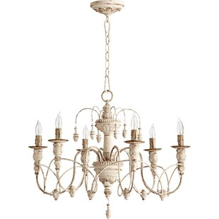 White shabby chic chandelier wayfair paladino 6 light chandelier aloadofball Image collections