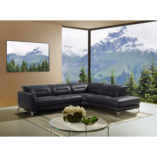 Sharp Leather Reclining Sectional by Orren Ellis
