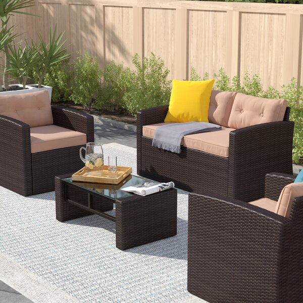 Guion 4 Piece Rattan Sofa Seating Group with Cushions by Zipcode Design