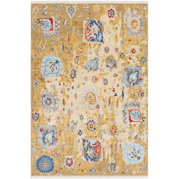 Elvis Distressed Vintage Yellow/Blue Area Rug by Charlton Home
