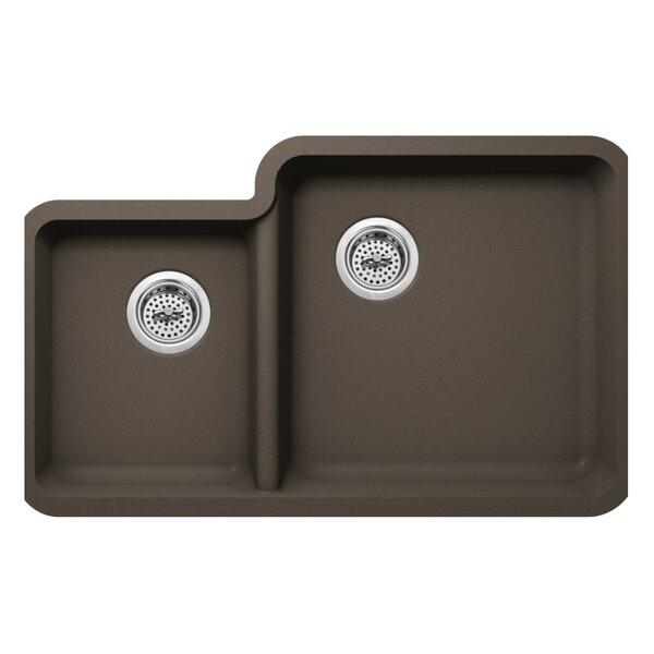 33 L x 21 W Double Basin Undermount Kitchen Sink with Basket Strainer