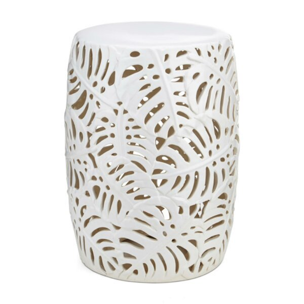 Noel Palm Leaf Cutwork Pattern Ceramic Garden Stool by Bay Isle Home