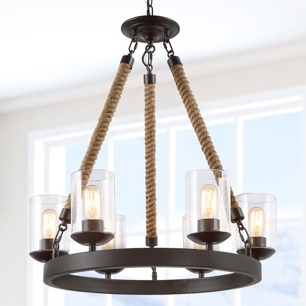 Manton 6 - Light Unique / Statement Wagon Wheel Chandelier With Rope Accents By Breakwater Bay