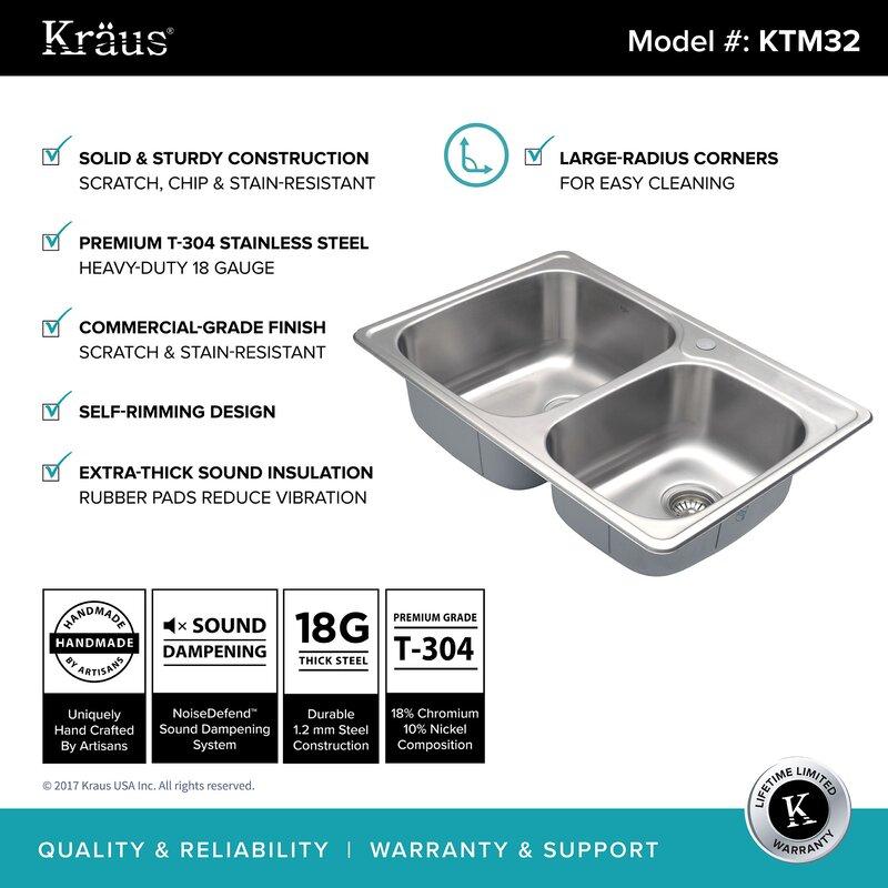 Kraus Stainless Steel Kitchen Sinks Kraus stainless steel 33 x 22 double basin drop in kitchen sink stainless steel 33 x 22 double basin drop in kitchen sink workwithnaturefo