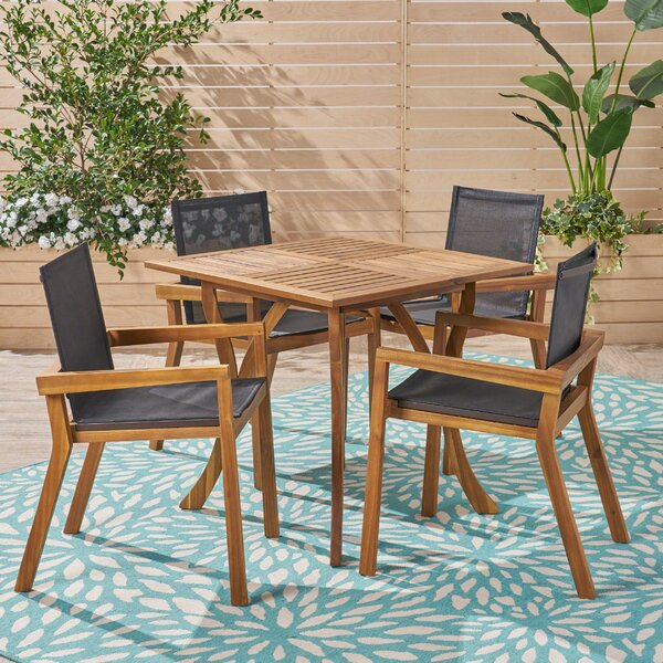 Bonded Outdoor 5 Piece Dining Set by Union Rustic