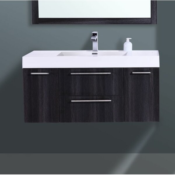 Sandifer 48 Wall-Mounted Single Bathroom Vanity Set with Mirror by Orren Ellis