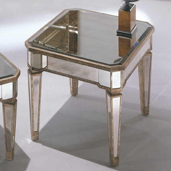 Roehl Mirrored End Table in Antique Silver by Willa Arlo Interiors Willa Arlo Interiors