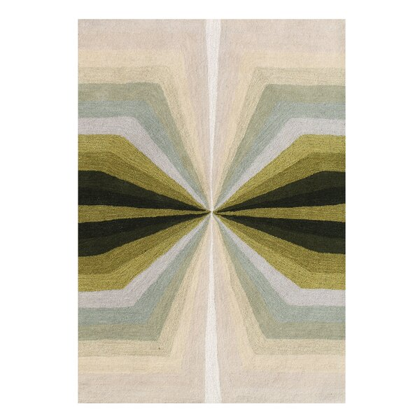 Shane Shades of Illusion Hand-Tufted Wool Green/Beige Area Rug by George Oliver