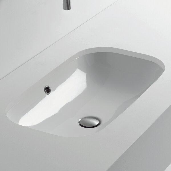 Ciotola Rectangular Undermount Bathroom Sink with Overflow