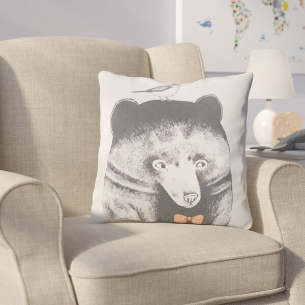 Cooke Bear and Bird Cotton Throw Pillow by Harriet Bee