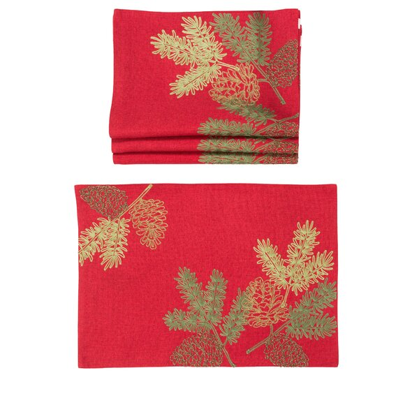 Decimus Christmas Pine Tree Branches Embroidered 14 Placemat (Set of 4) by The Holiday Aisle