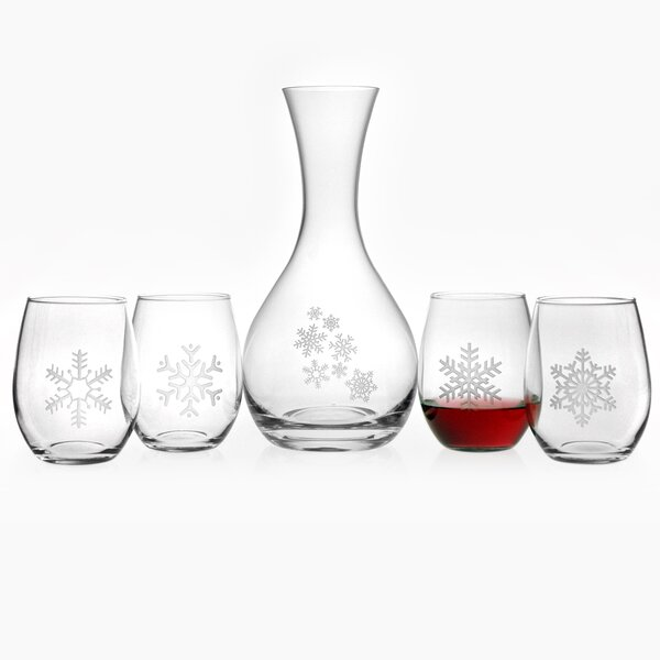 Snowflake 5 Piece Carafe and Stemless Wine Glass Set by Susquehanna Glass