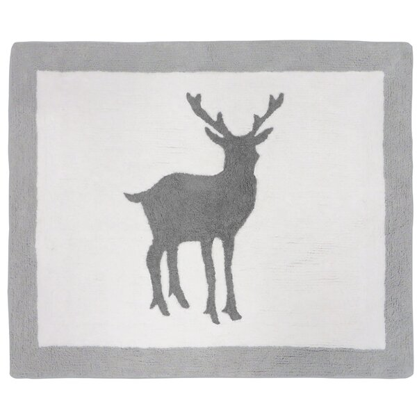 Woodland Animals Hand-Tufted Gray/White Area Rug by Sweet Jojo Designs