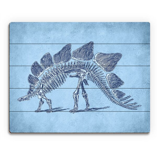 Stegosaurus Skeleton Graphic Art on Plaque by Click Wall Art